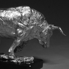 Bull - The Charge In Sterling Silver<br />click to enlarge